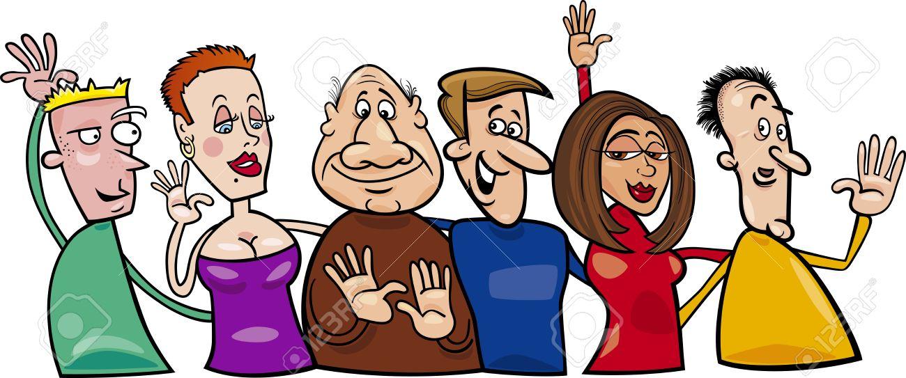 Cartoon illustration of hugging happy people group Stock Vector - 13417241