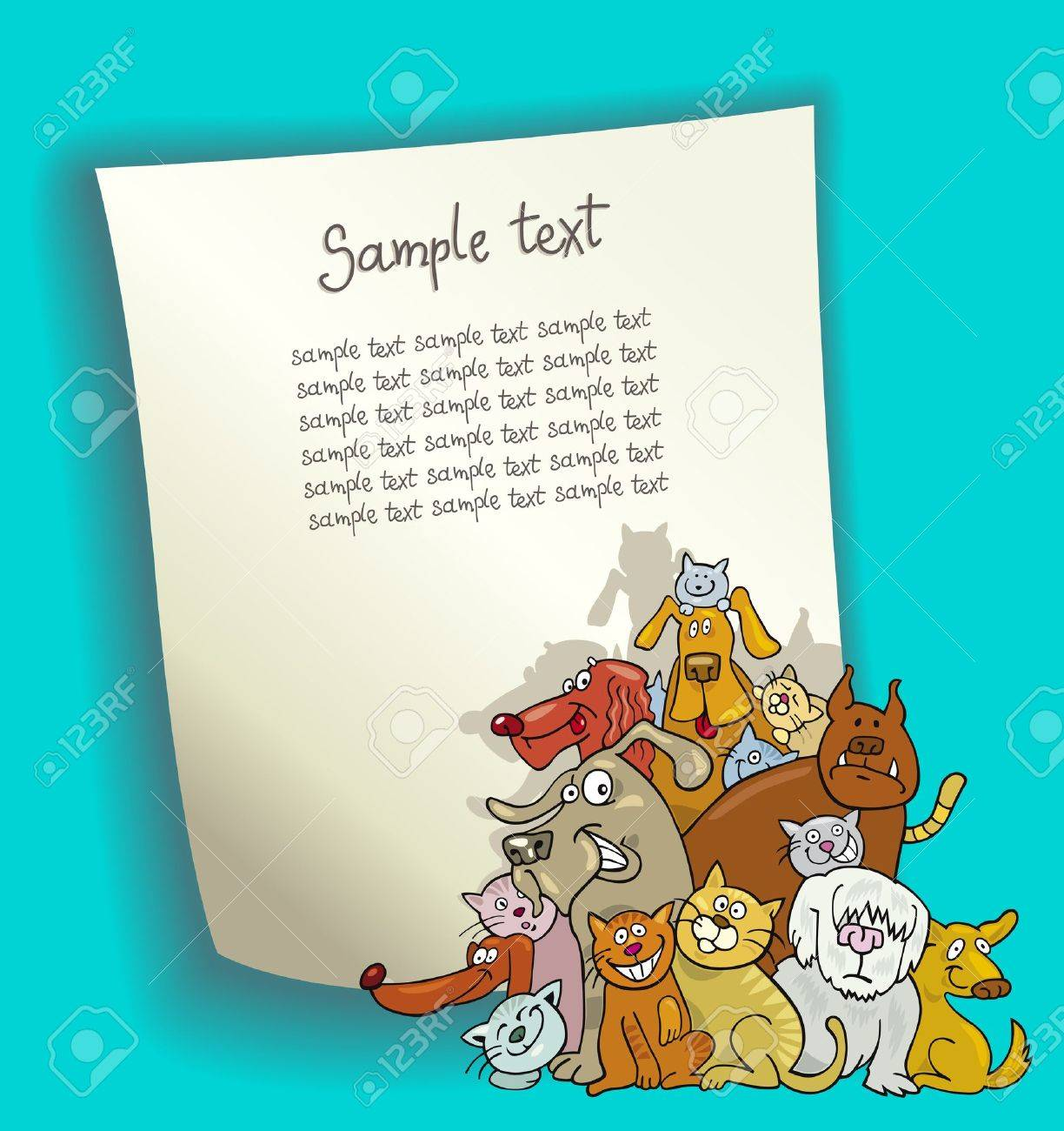 cartoon design illustration with blank page and group of cats and dogs Stock Vector - 13483458