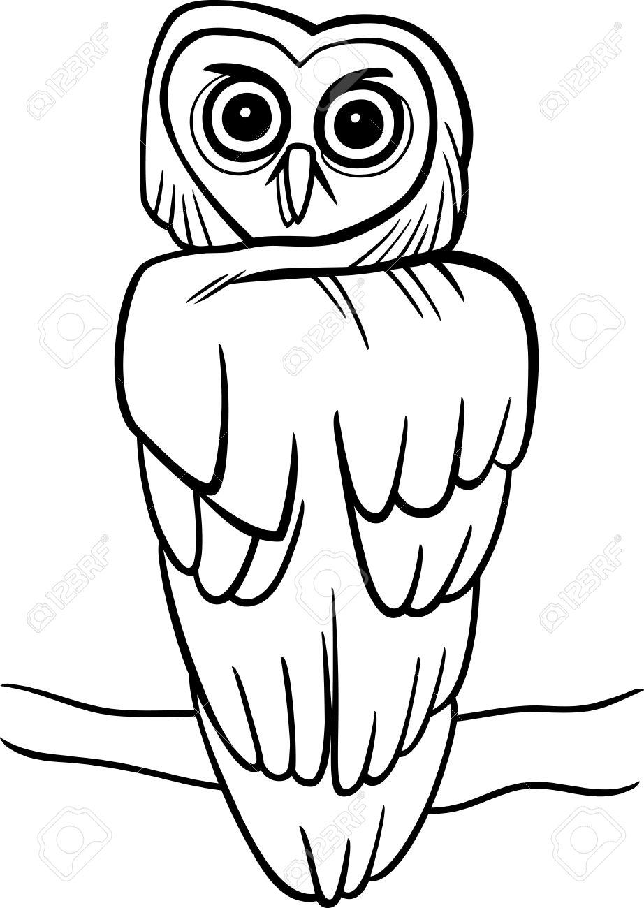 Ilustración De Dibujos Animados De La Lechuza En El árbol De Libro ...