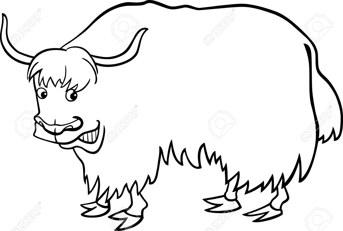 Coloring pages yak - Yak Cartoon Illustration Of Asian Yak For Coloring Book Illustration
