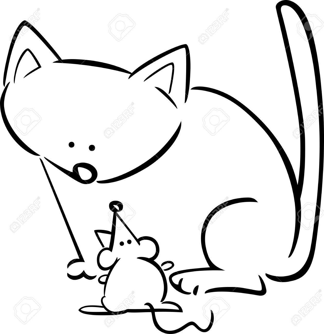 De Dibujos Animados Dibujo Ilustración De Gato Y El Ratón Para Libro Para Colorear