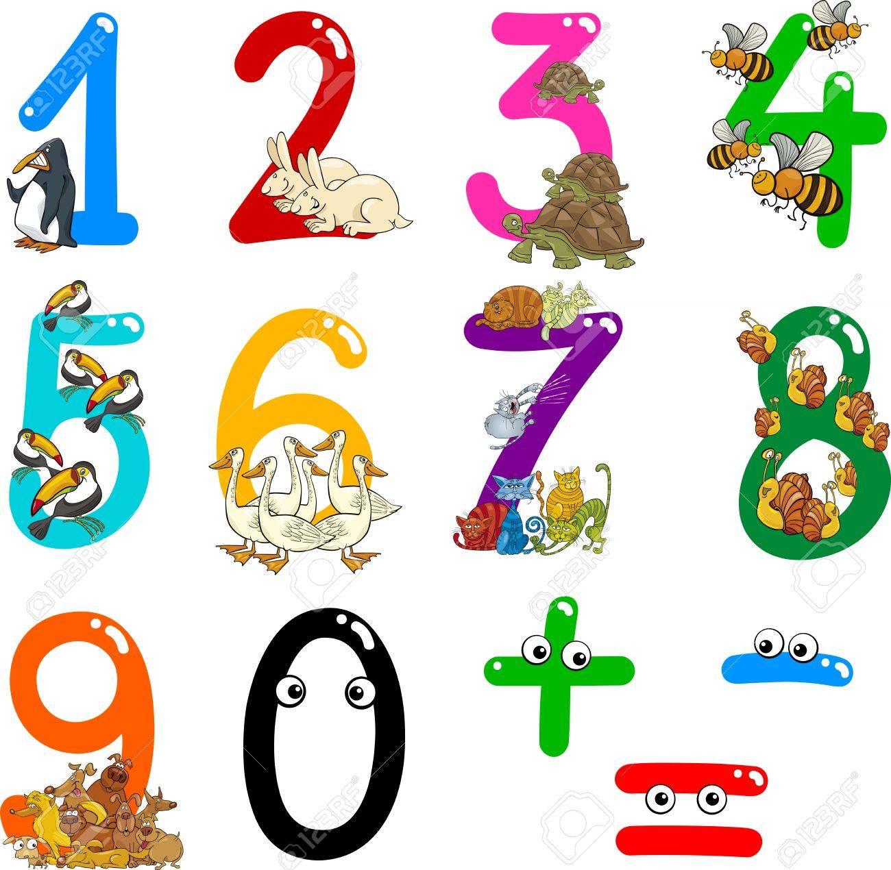 数字 0 ~ 9 の動物からの漫画イラスト ロイヤリティフリークリップ
