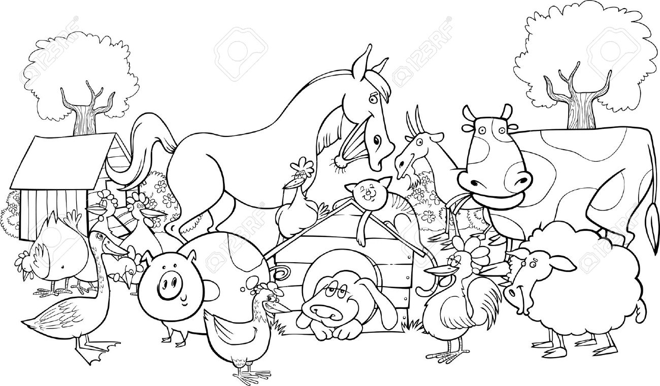 ファーム動物のグループの塗り絵の漫画イラストのイラスト素材ベクタ