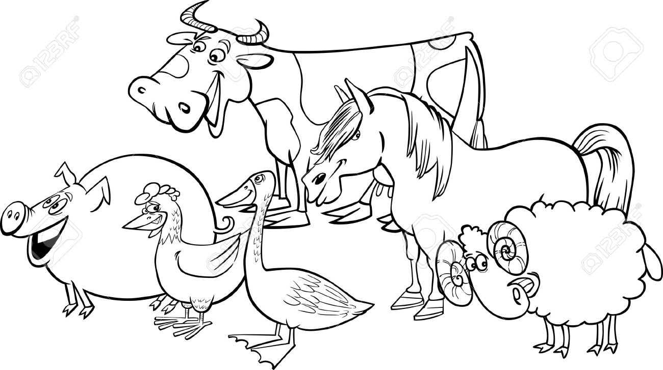 cartoon illustration of funny farm animals group for coloring book stock vector 13849250