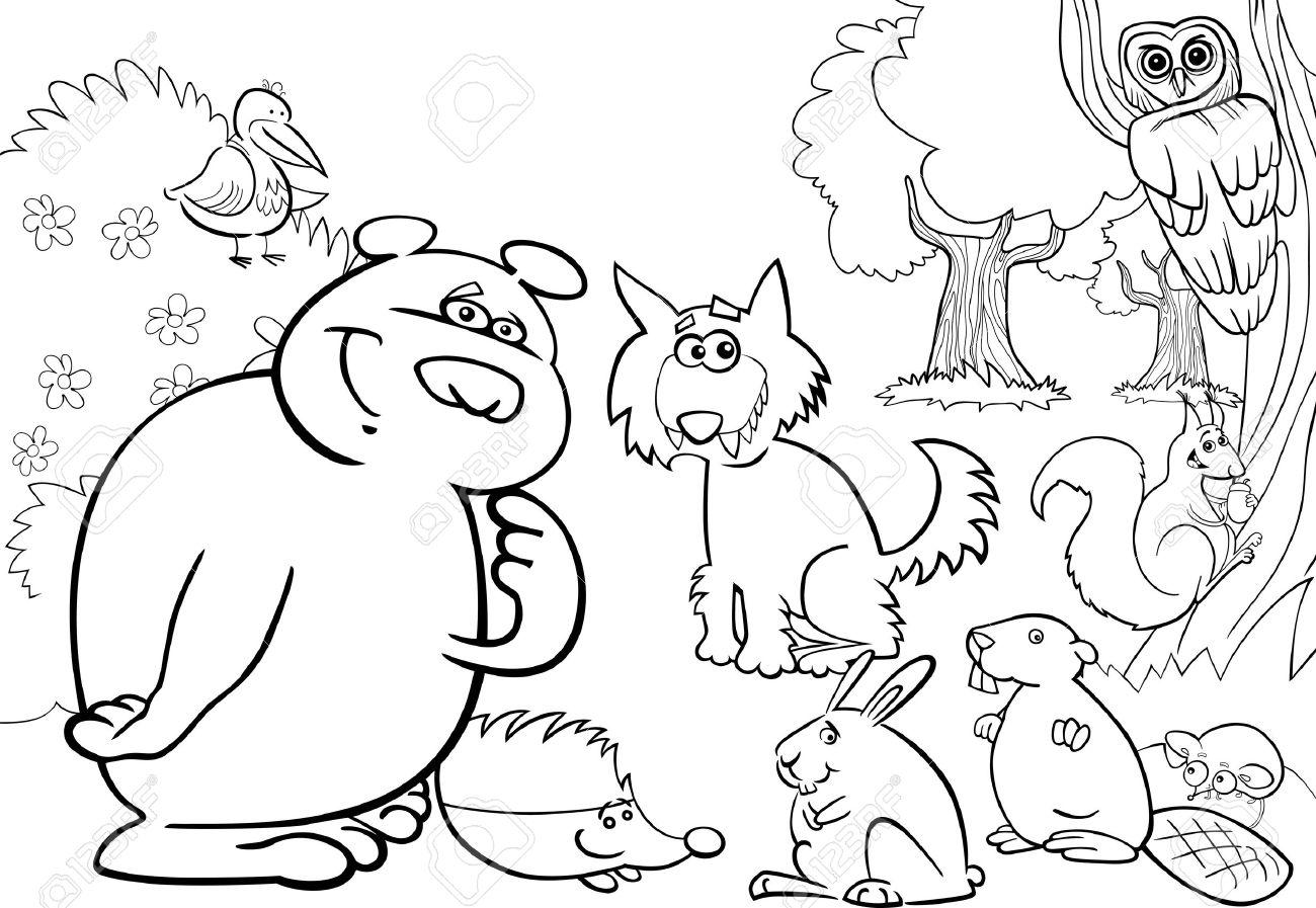 塗り絵の本のための野生の森林動物の漫画イラスト ロイヤリティフリー