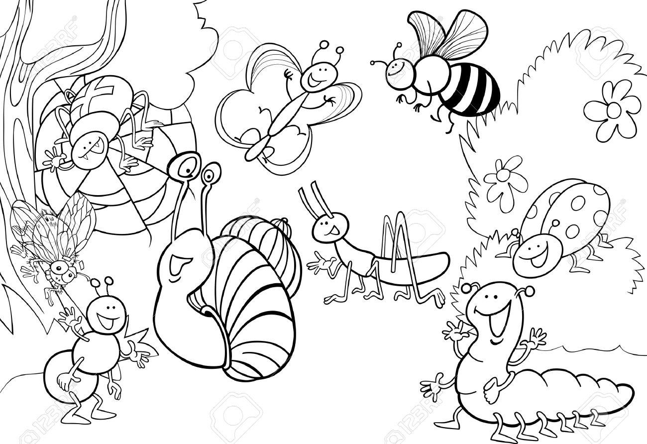 面白い昆虫塗り絵の草原の漫画イラストのイラスト素材ベクタ Image