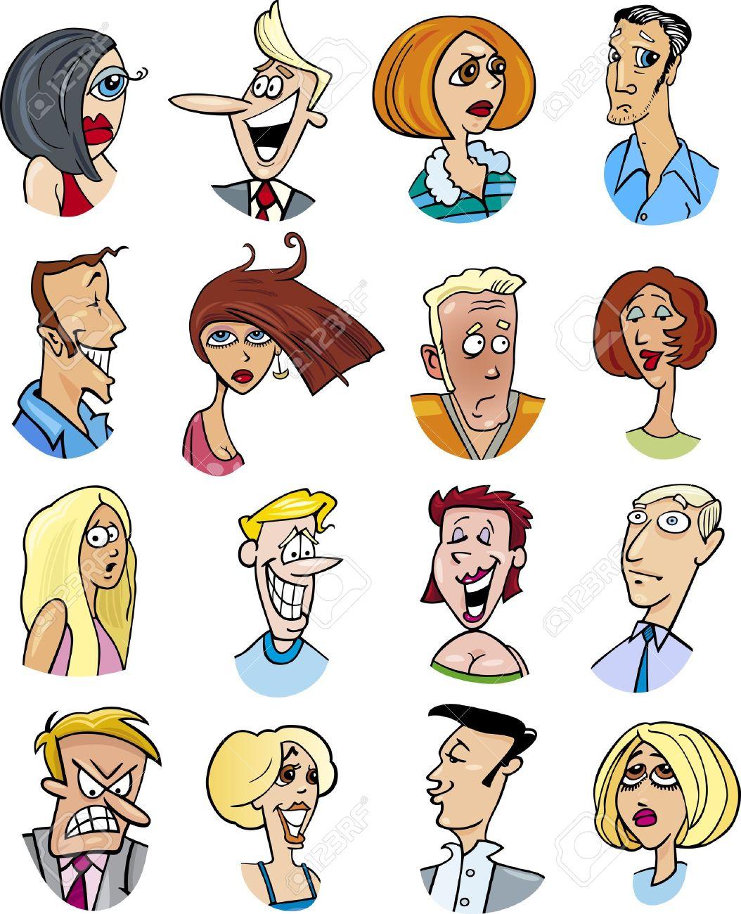 Ilustración De Dibujos Animados De Personajes De Diferentes Personas