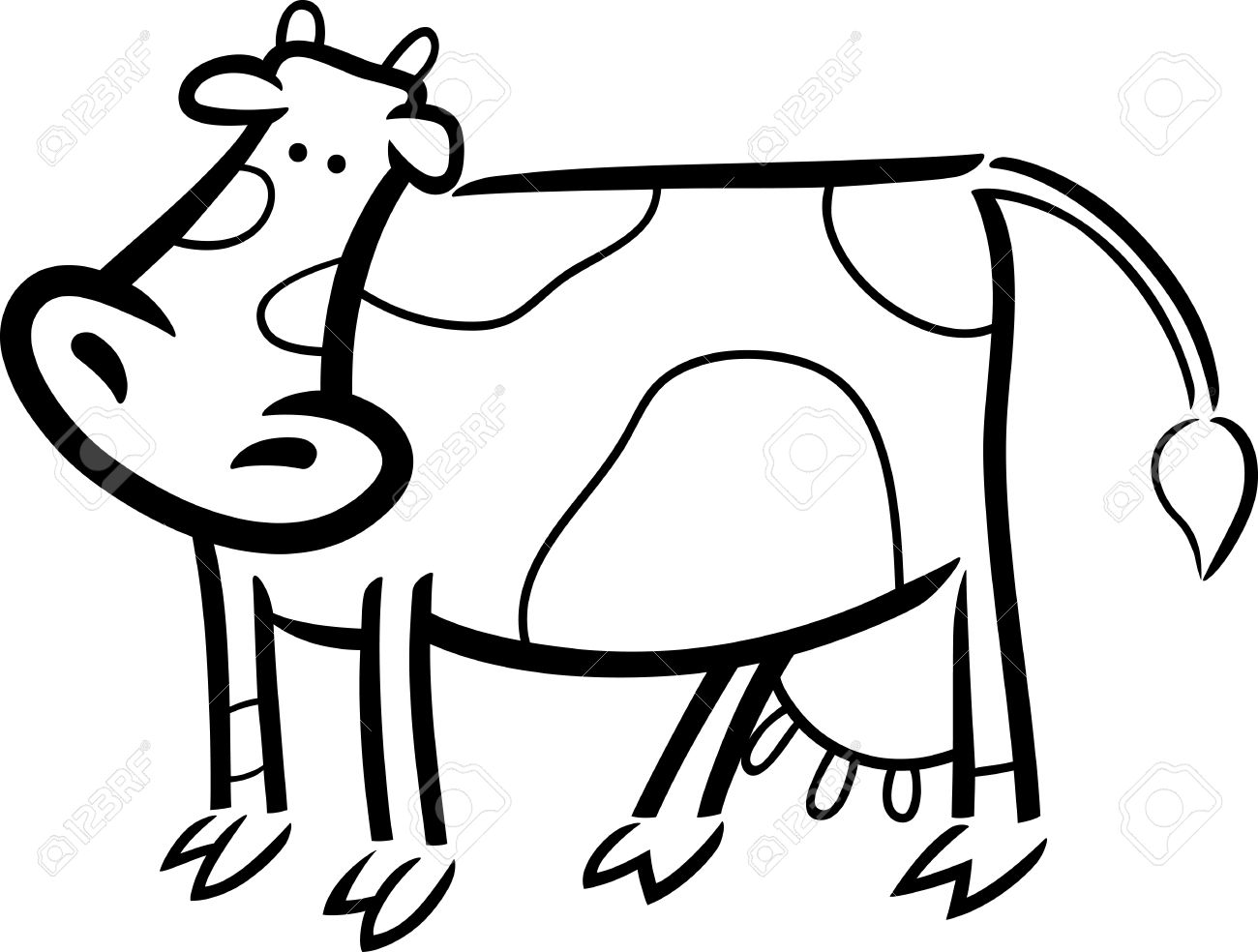 Cartoon Doodle Illustration Of Cute Farm Cow For Coloring Book ...