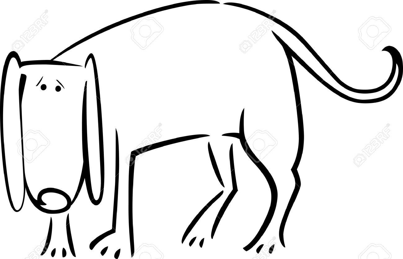 Doodle Ilustración De Dibujos Animados Lindo Perro Triste Por Libro ...