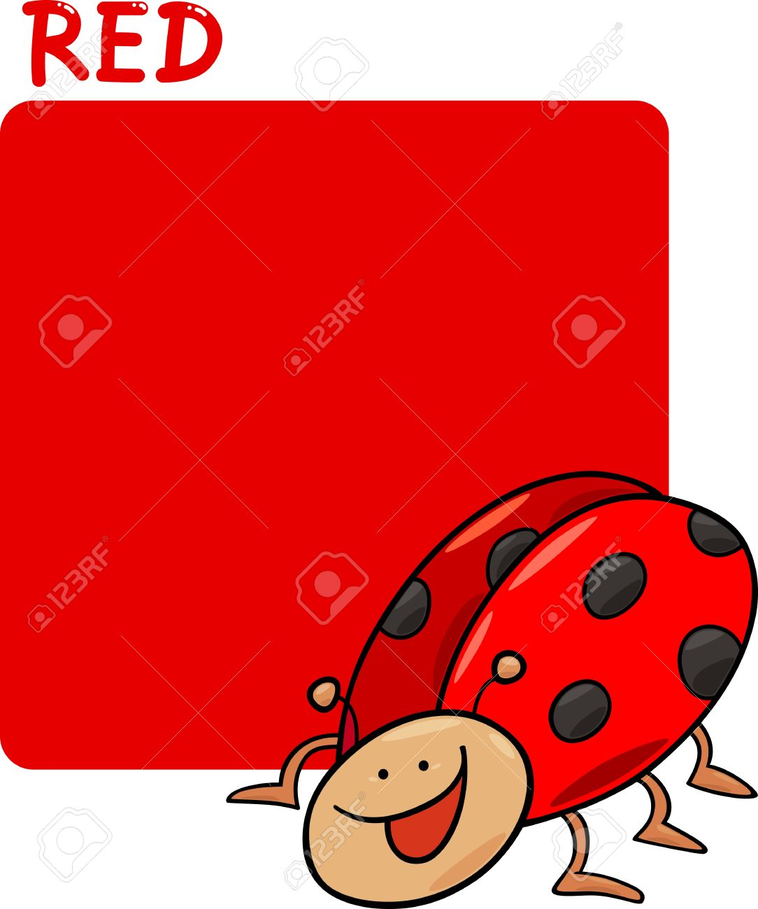 Cartoon Illustration of Color Red and Ladybug Stock Vector - 14169991
