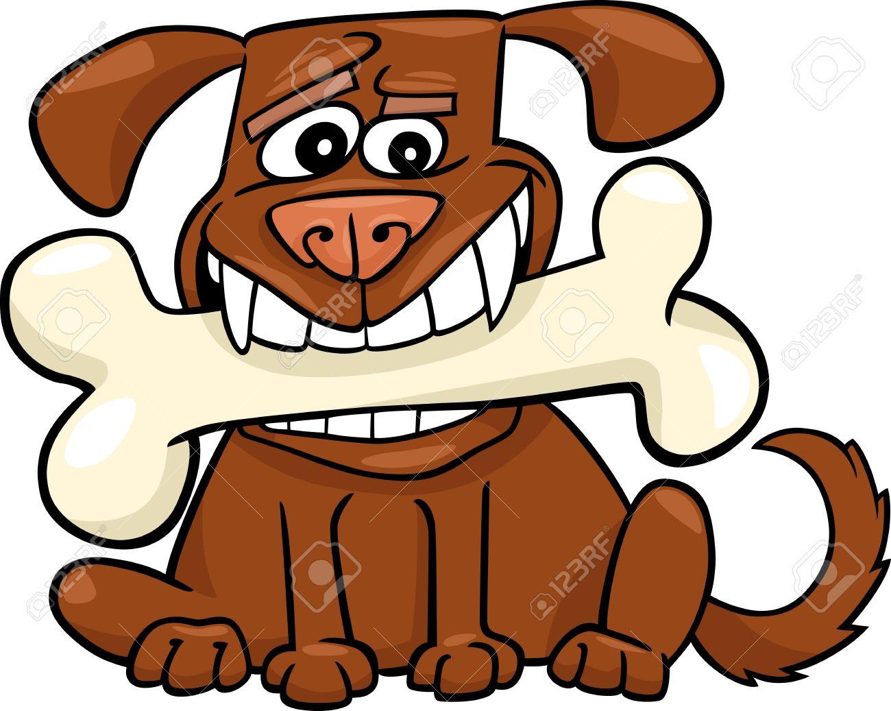 Cartoon Illustration of Funny Dog with Big Bone Stock Vector - 14295354