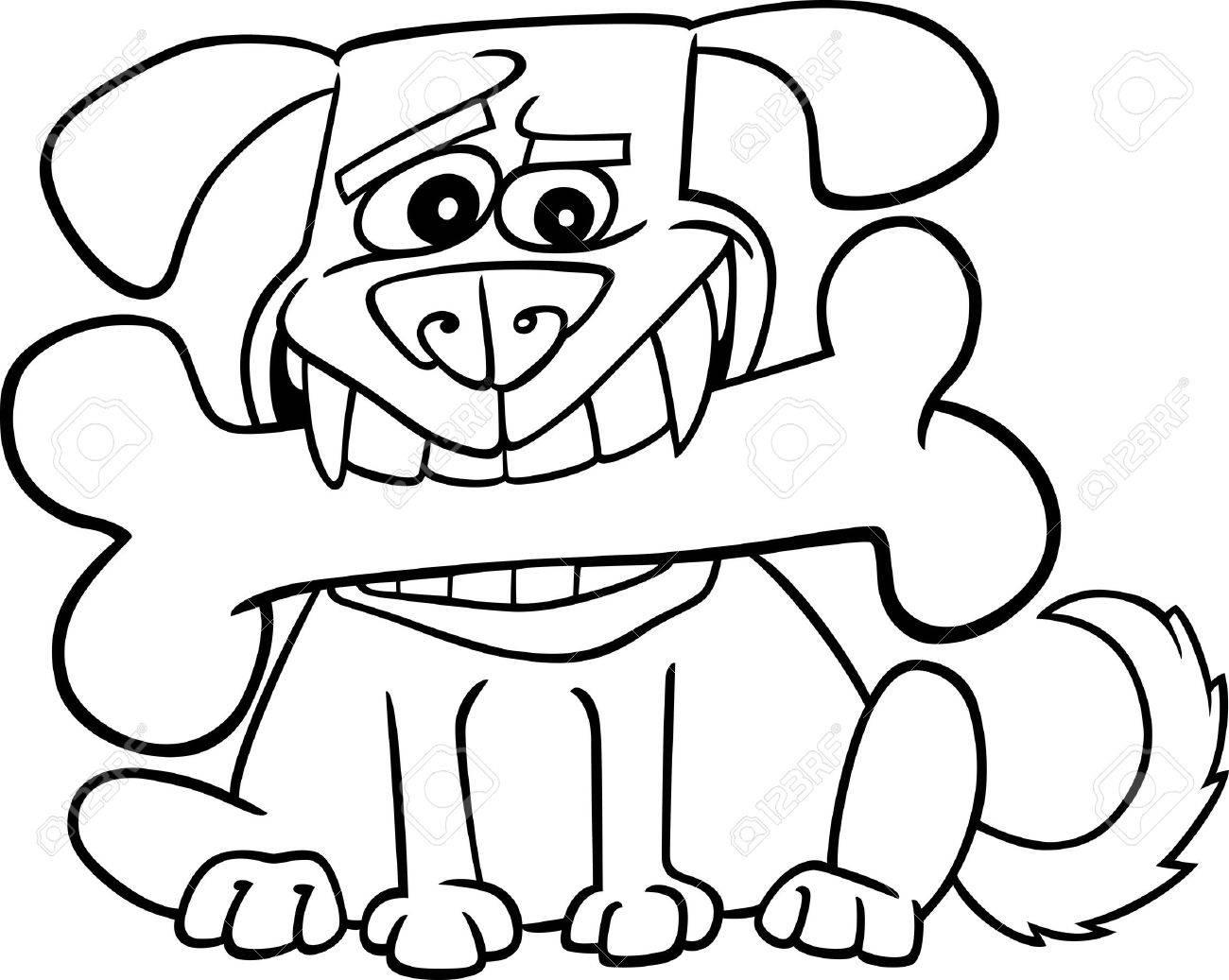 Ilustración De Dibujos Animados De Perro Con El Hueso Grande Para ...