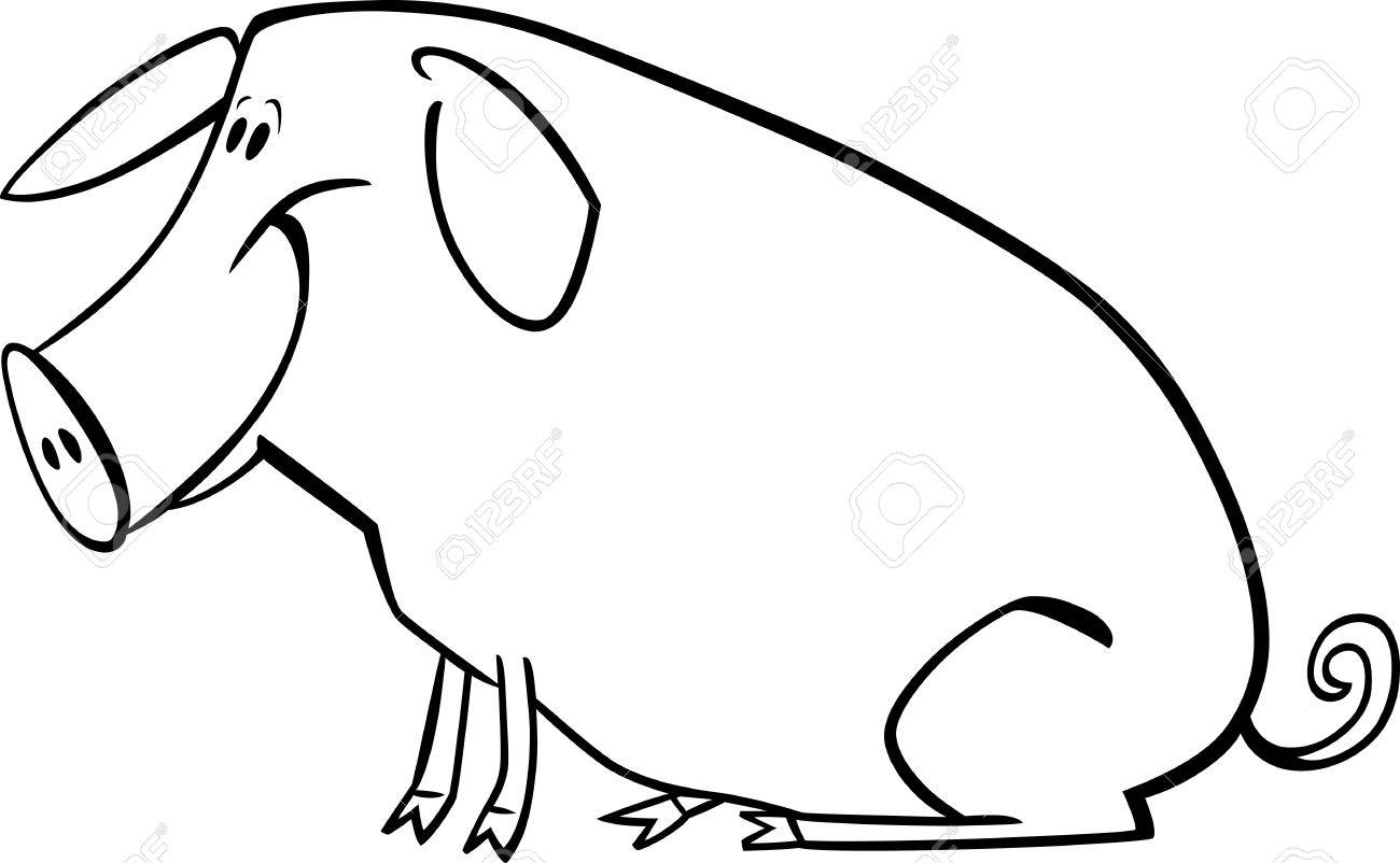 coloring page illustration of funny farm pig royalty free cliparts