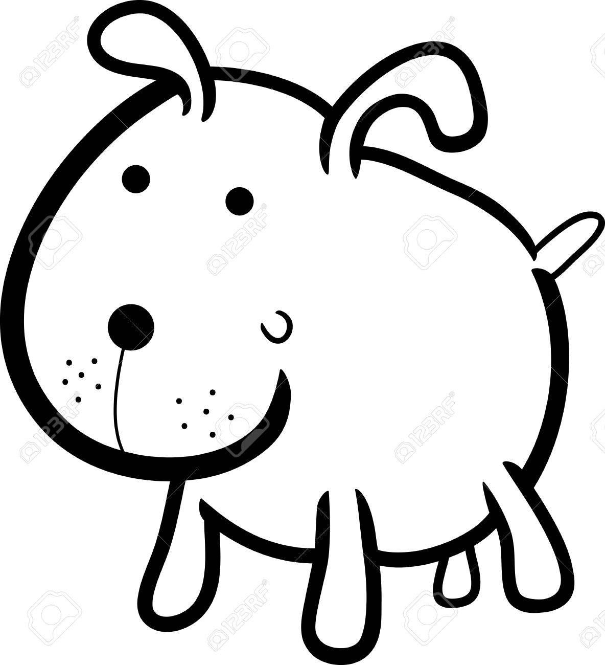 Ilustración De Dibujos Animados De Perro O Cachorro Bonito Libro Para Colorear Para Los