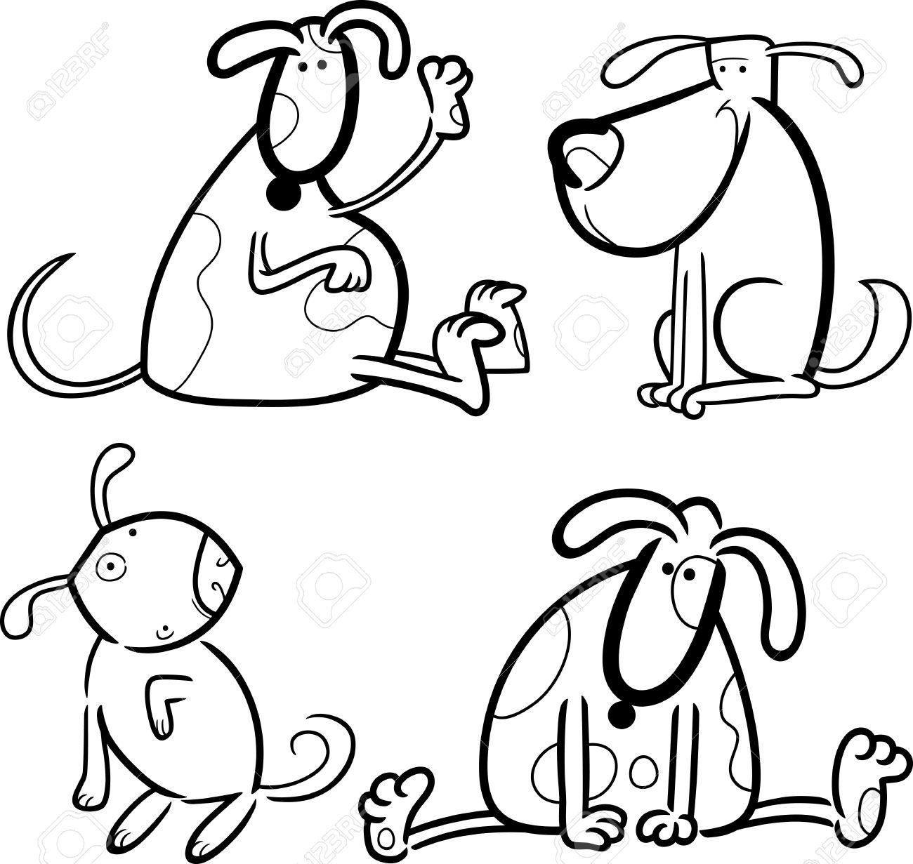 Ilustración De Dibujos Animados De Los Cuatro Perros Lindos ...