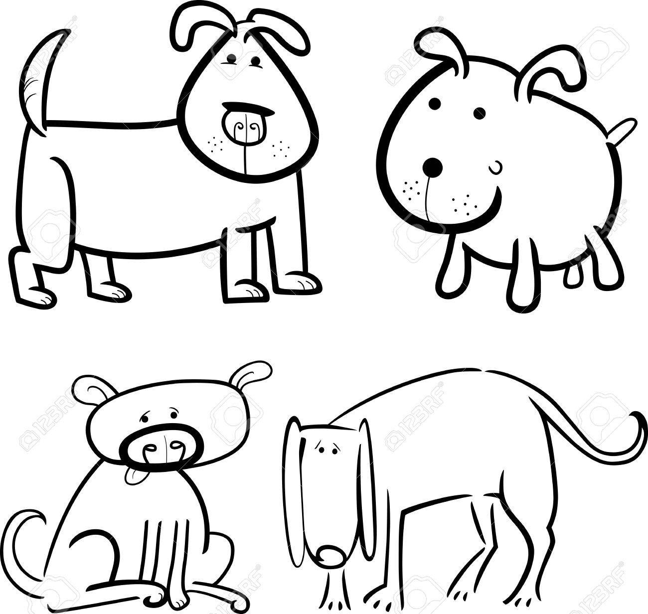 cartoon illustration of four cute dogs or puppies set for coloring