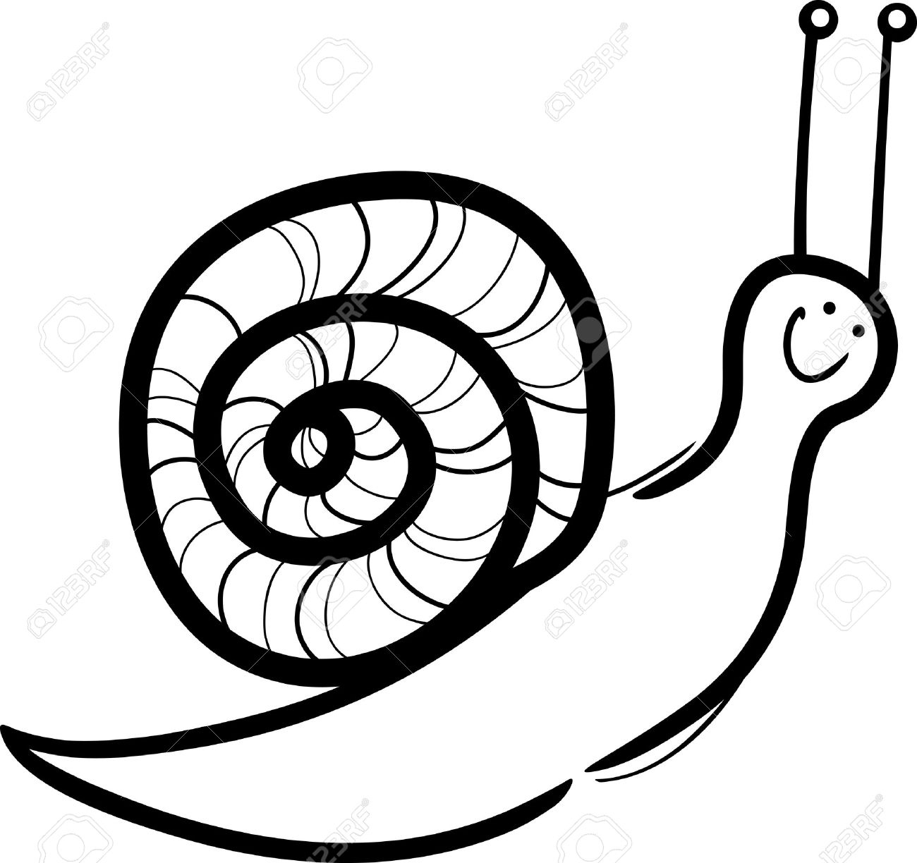 Ilustración De Dibujos Animados De Caracol Lindo Con Cáscara Para ...