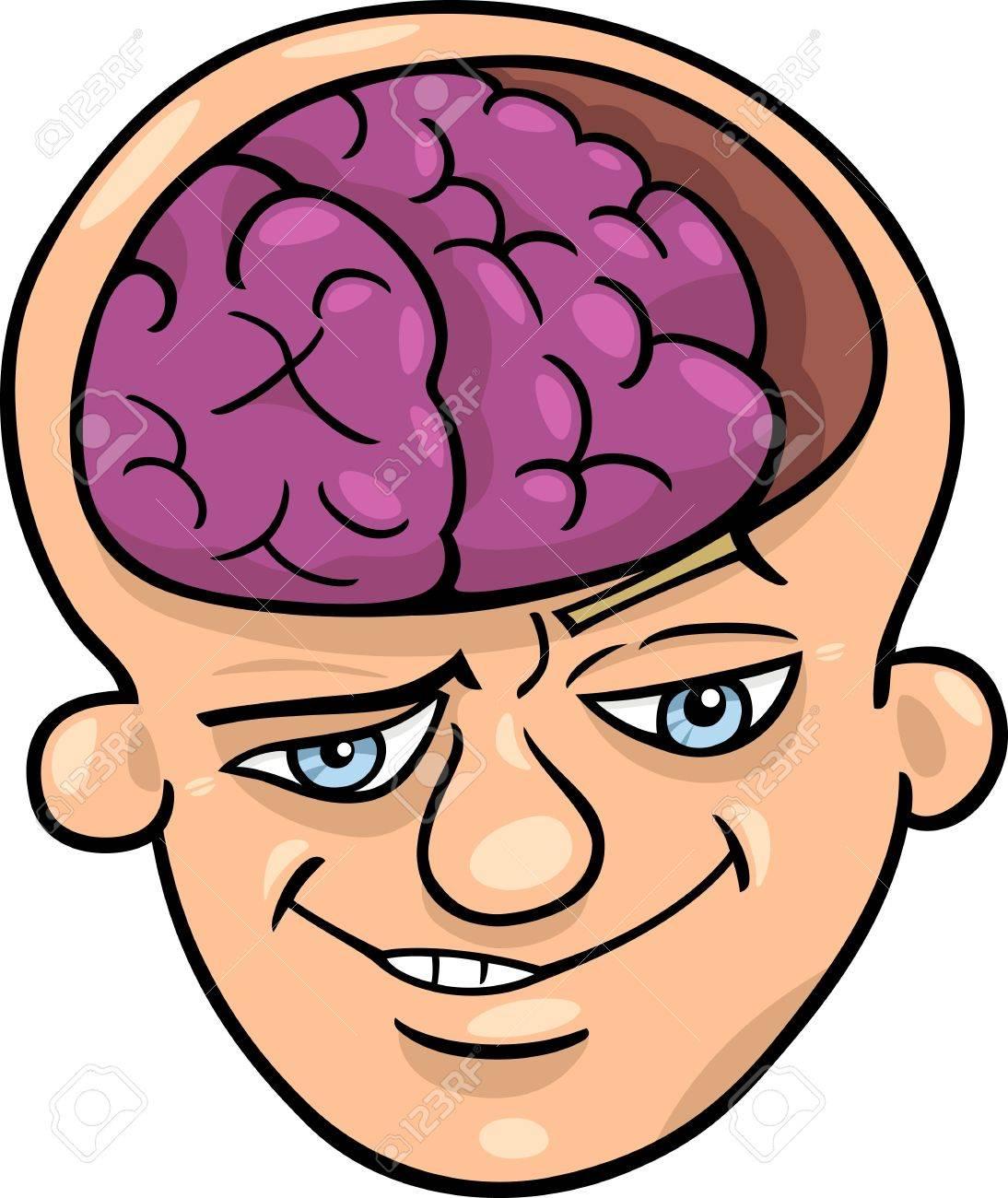 Humorous Cartoon Illustration of Brainy Man or Smart Guy Stock Vector - 14601370