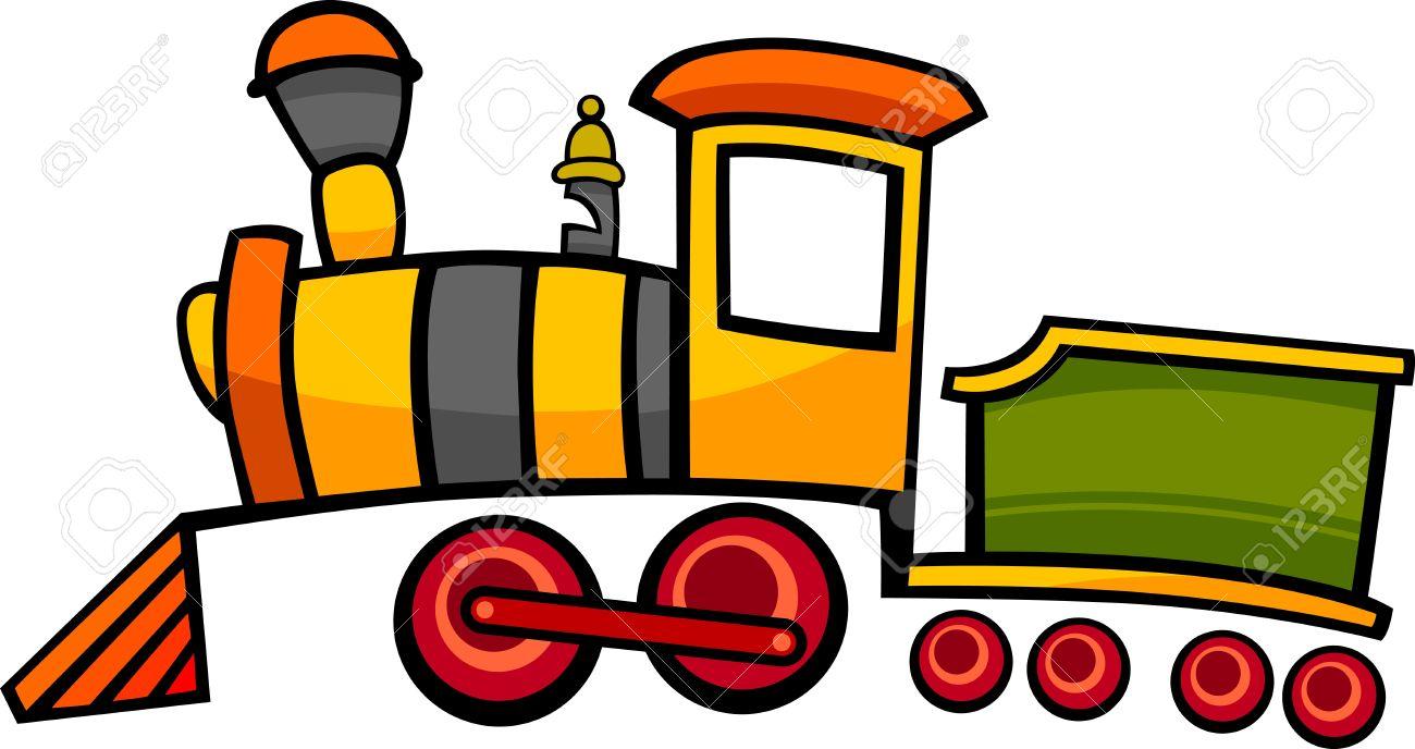 漫画かわいいカラフルな蒸気機関車のイラストや電車 ロイヤリティフリー