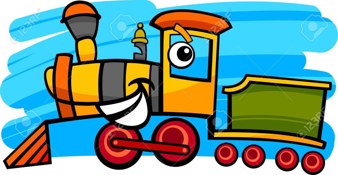 漫画かわいい蒸気機関車のイラストや文字の列車 ロイヤリティフリー