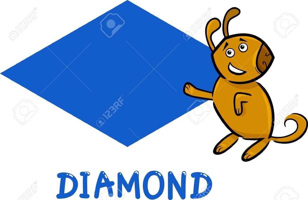 Ilustración De Dibujos Animados De Diamante O Rhomb Basic Forma ...