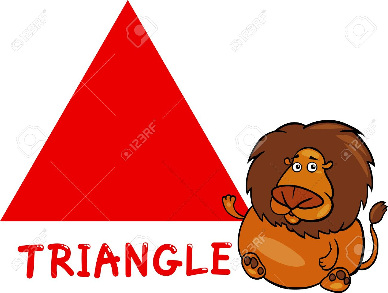 Cartoon Illustration Of Triangle Basic Geometric Shape With Funny ...