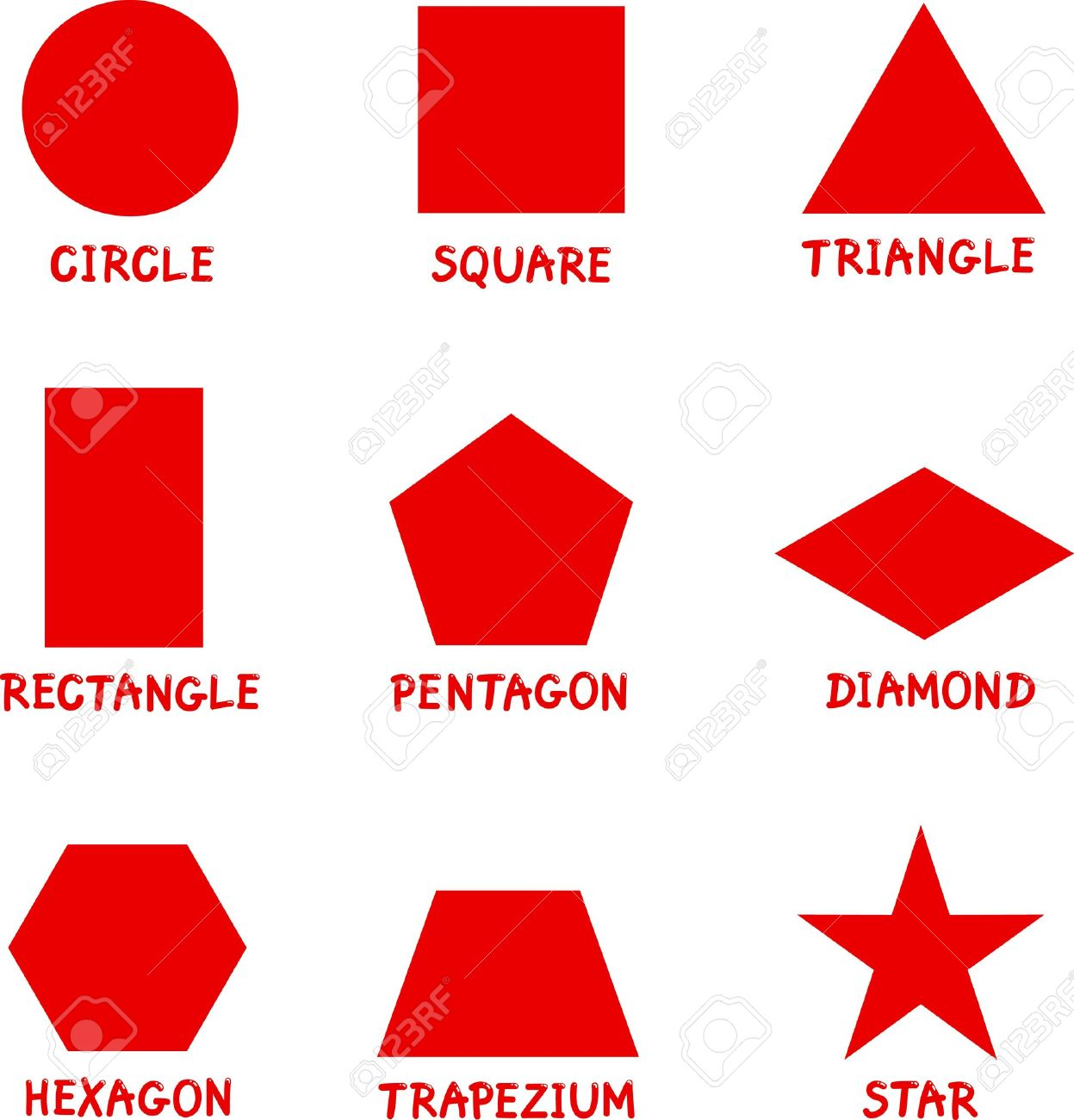 Illustration of Basic Geometric Shapes with Captions for Children Education Stock Vector - 14806262