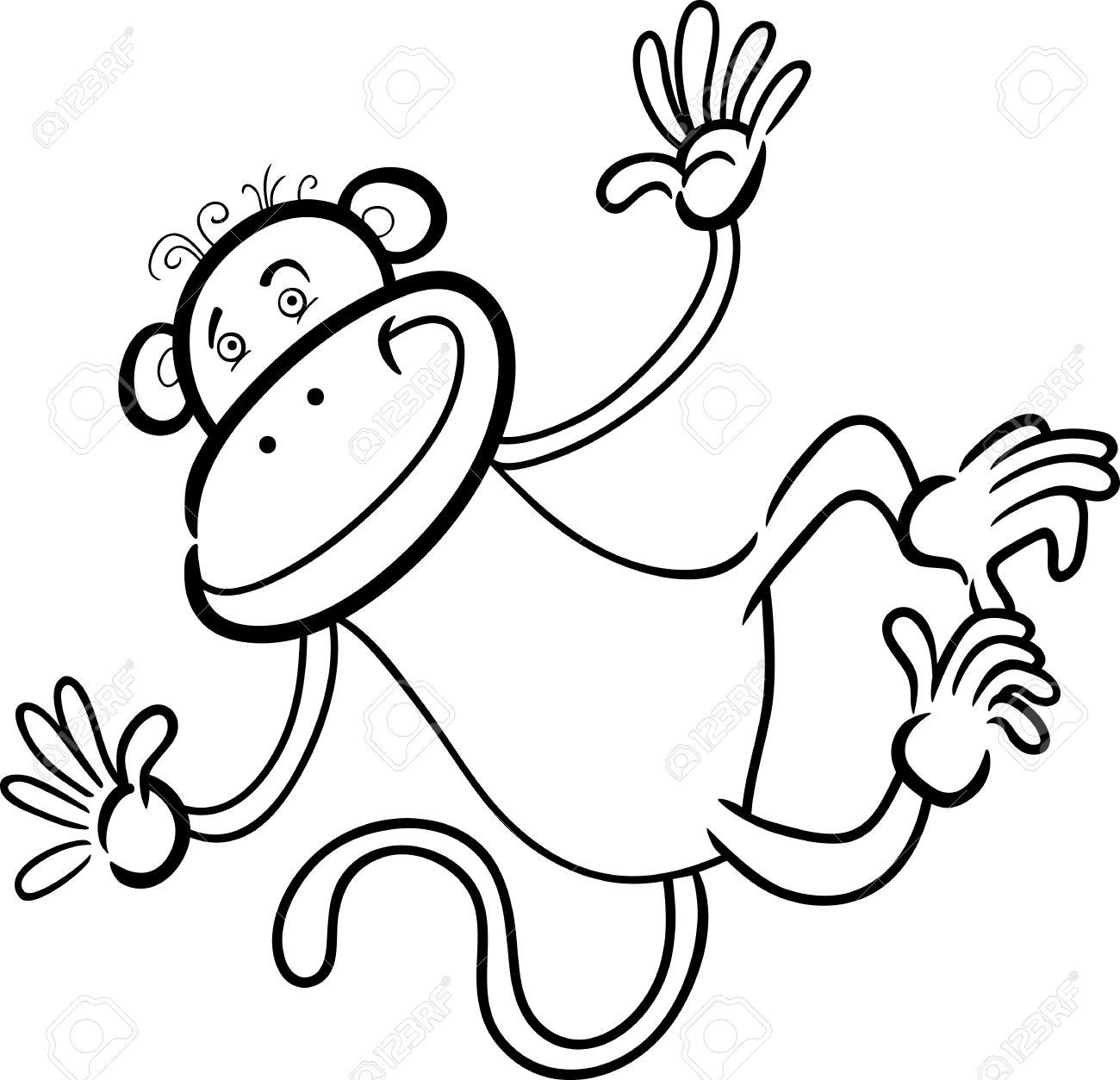 Cartoon Humorvoll Illustration Von Cute Funny Monkey Für Coloring ...