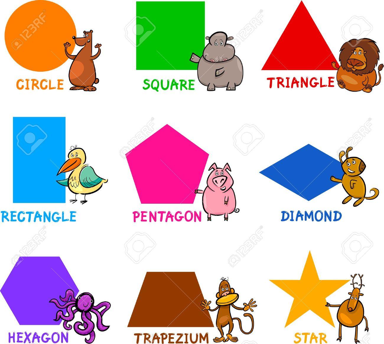 Ilustración De Dibujos Animados De Formas Geométricas Básicas Con