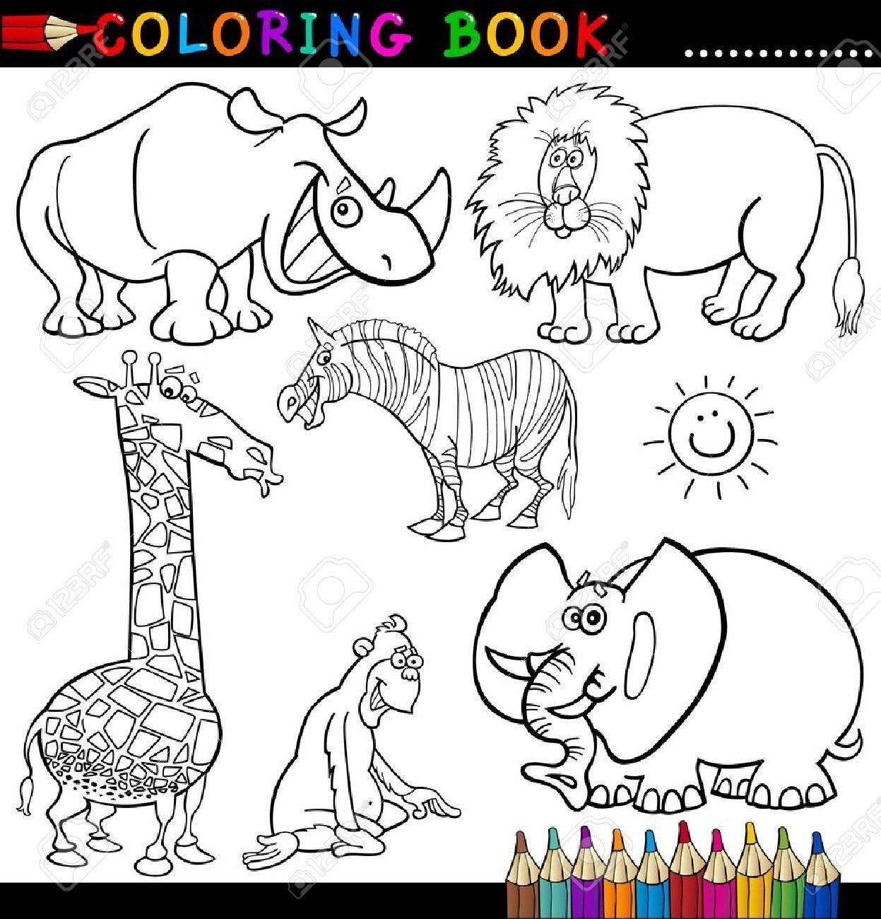Libro Para Colorear O Ilustración De La Historieta De La Página Divertido Salvaje Y Animales De Safari Para Niños