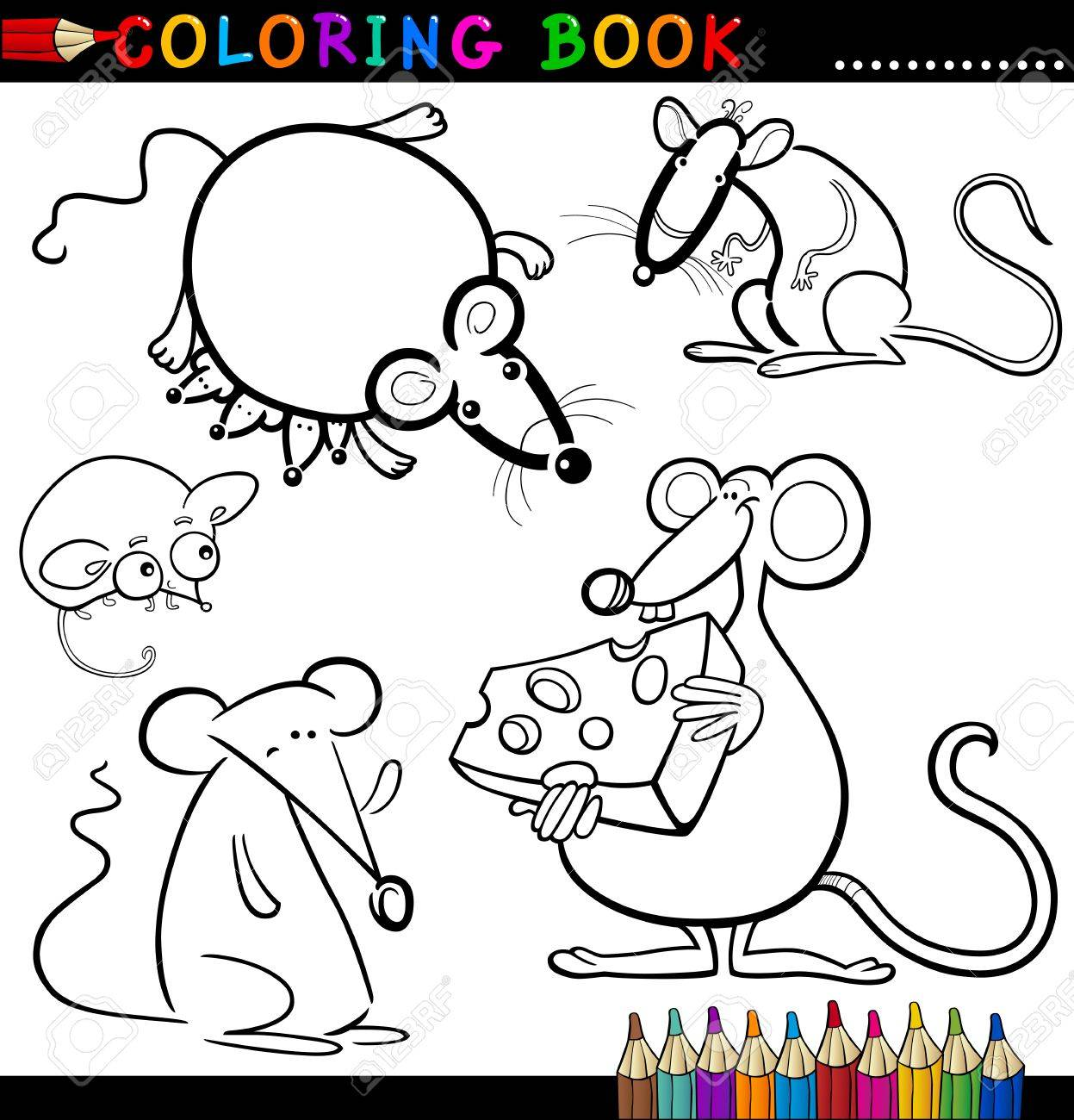 Coloring Book or Page Cartoon Illustration of Funny Rats and Mouses for Children Stock Vector - 15076923