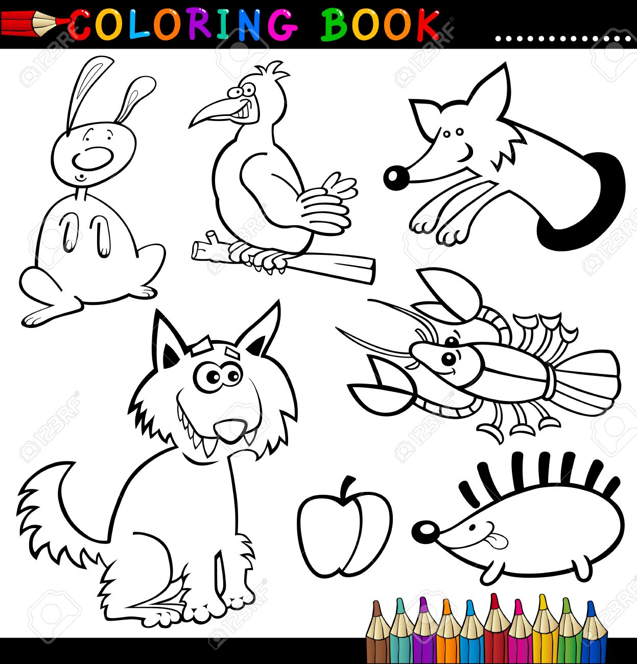 coloring book or page cartoon illustration of funny wild and