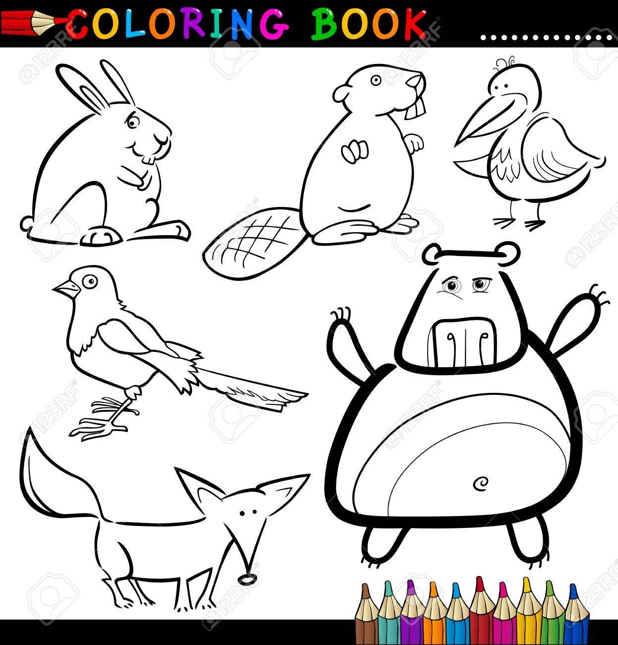 子供のための林に住む動物や面白い野生のページ漫画イラスト本を着色
