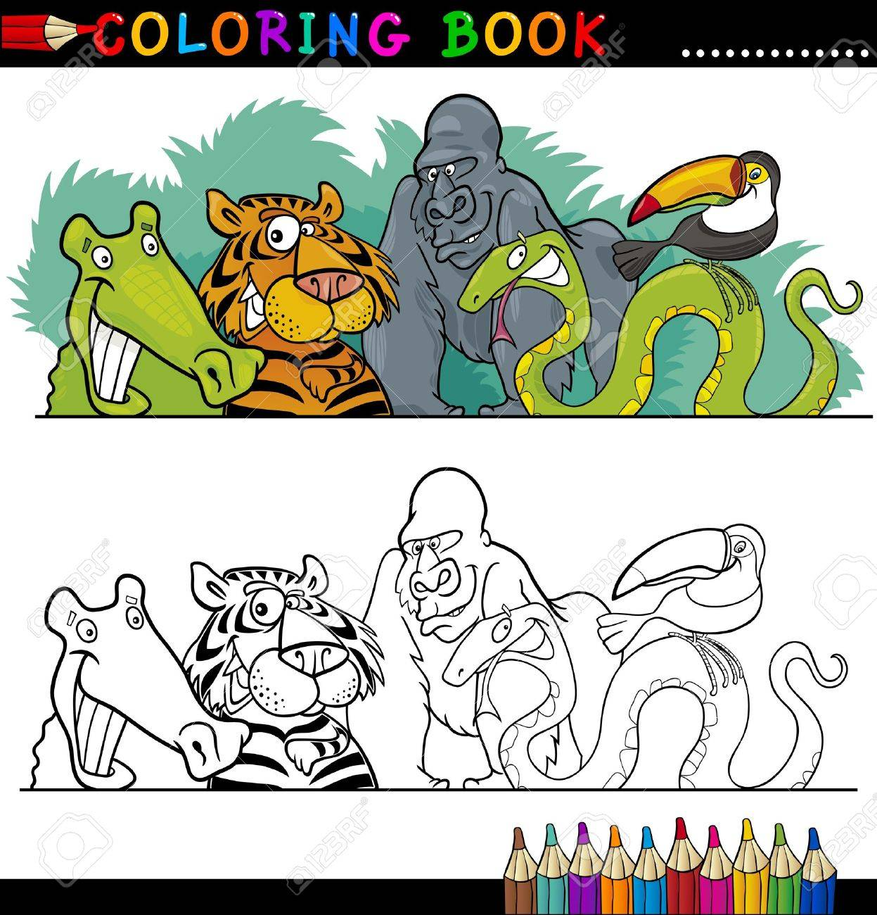 Coloring Book Or Page Cartoon Illustration Of Funny Wild Animals ...