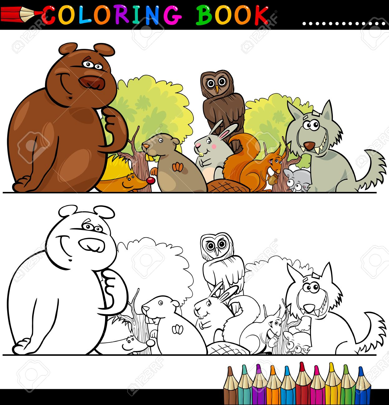 Coloring Book or Page Cartoon Illustration of Funny Wild Animals for Children Education Stock Vector - 15076959