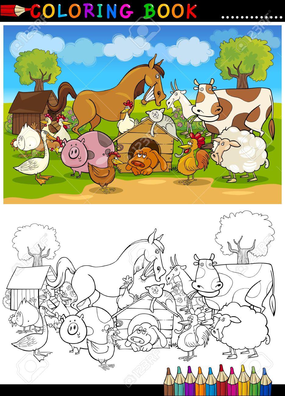 Libro Para Colorear O Ilustración De Dibujos Animados Página De ...