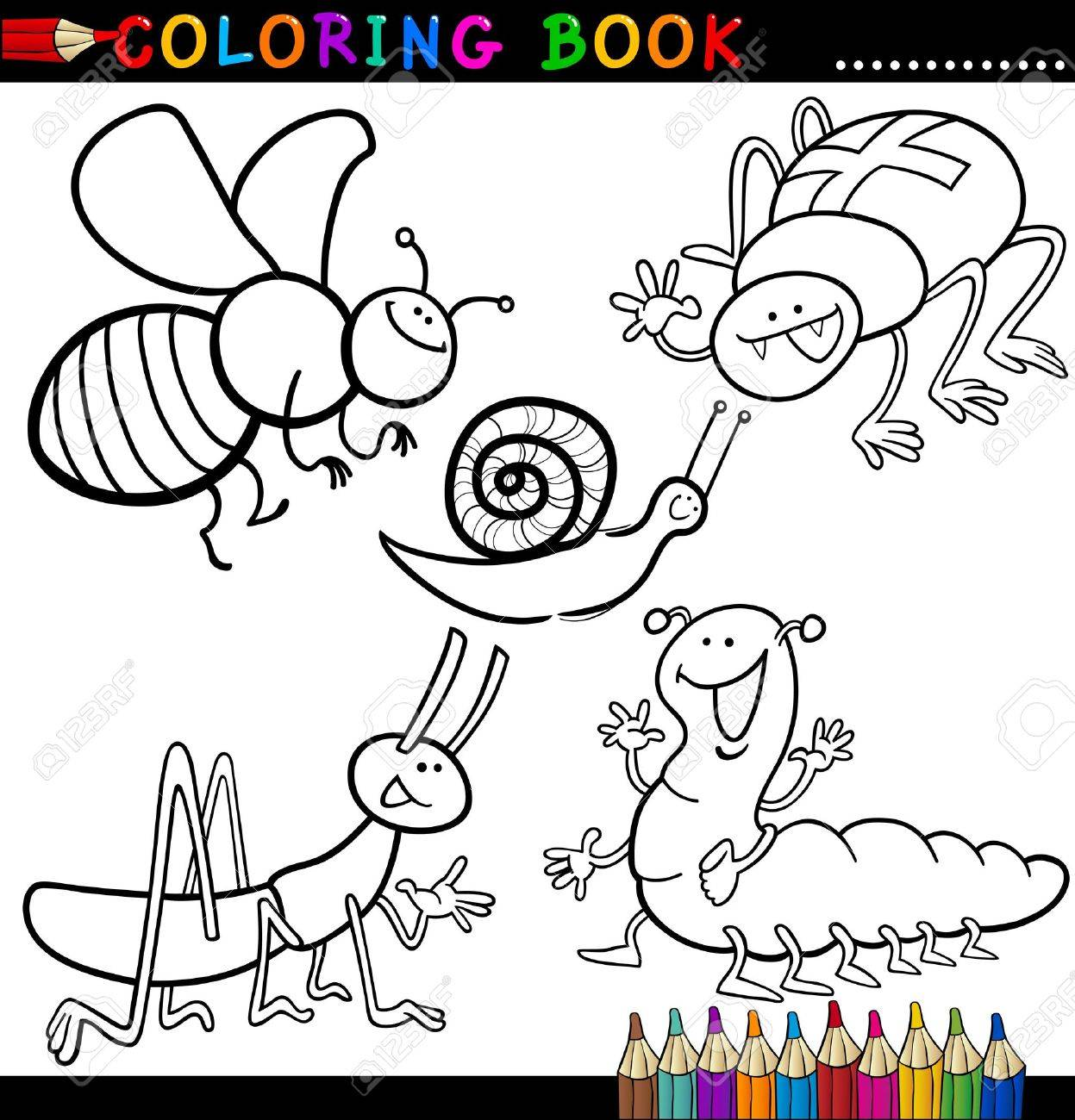 coloring book or page cartoon illustration of funny insects and