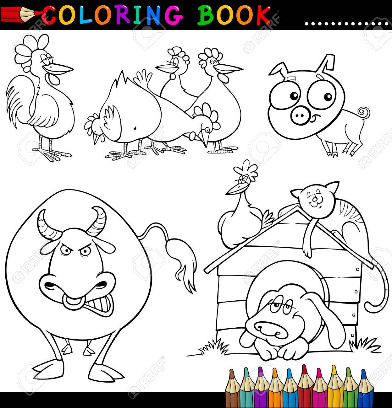 Coloring Book or Page Cartoon Illustration of Funny Farm and Livestock Animals for Children Stock Vector - 15306595