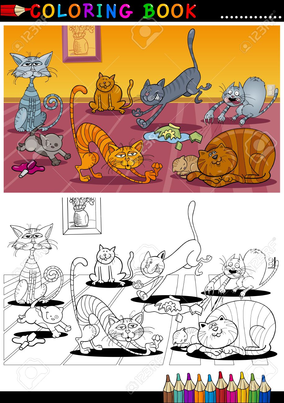 coloring book or page cartoon illustration of funny naughty cats in the house for children stock - Naughty Coloring Book