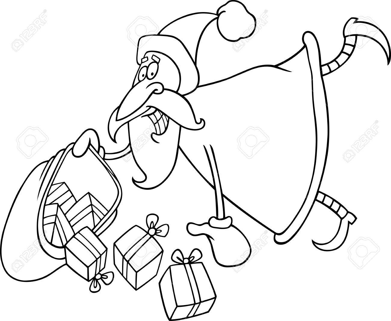 cartoon illustration of flying santa claus with sack of christas presents for coloring book stock vector