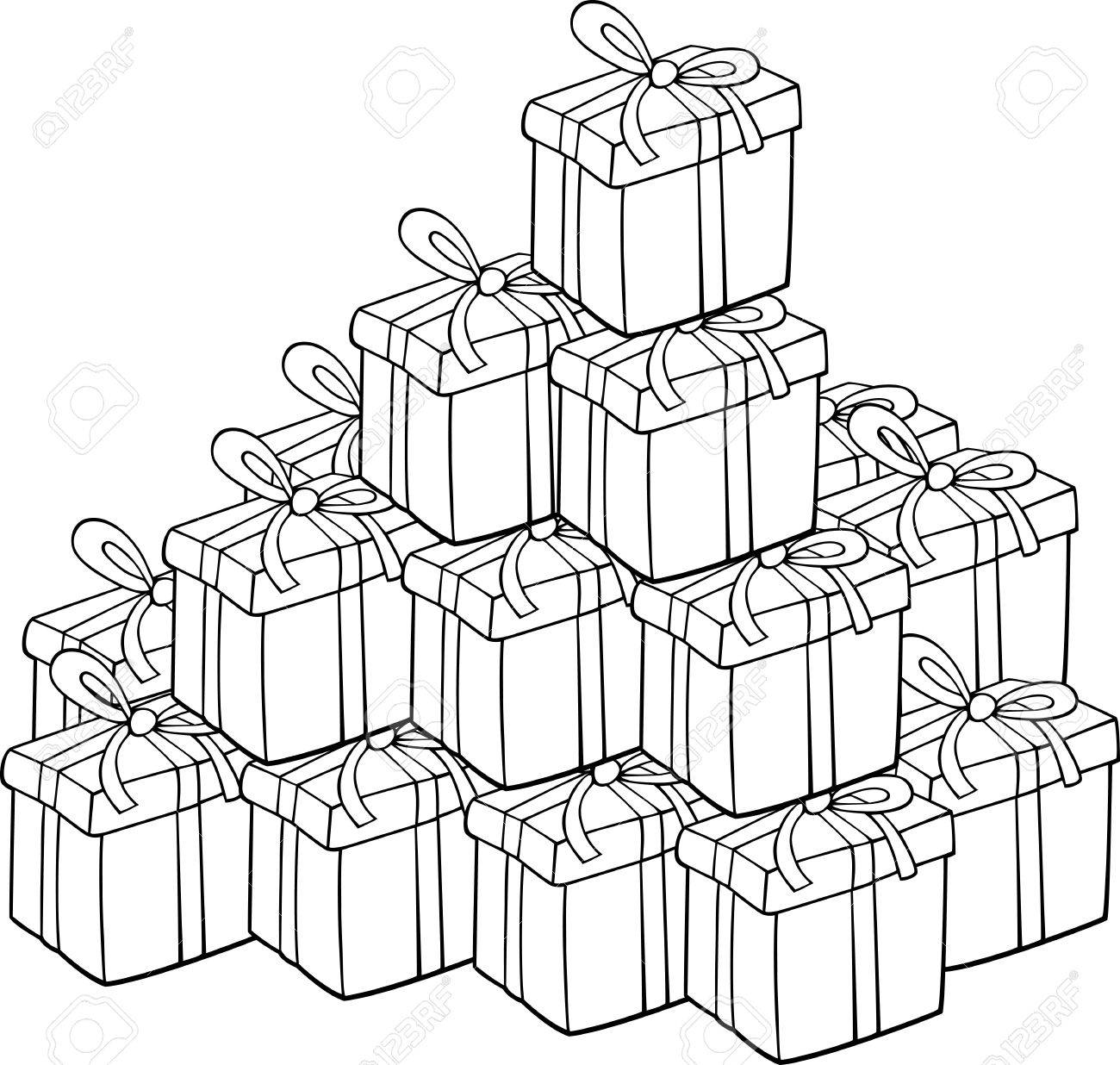 cartoon illustration of heap of christmas presents for coloring