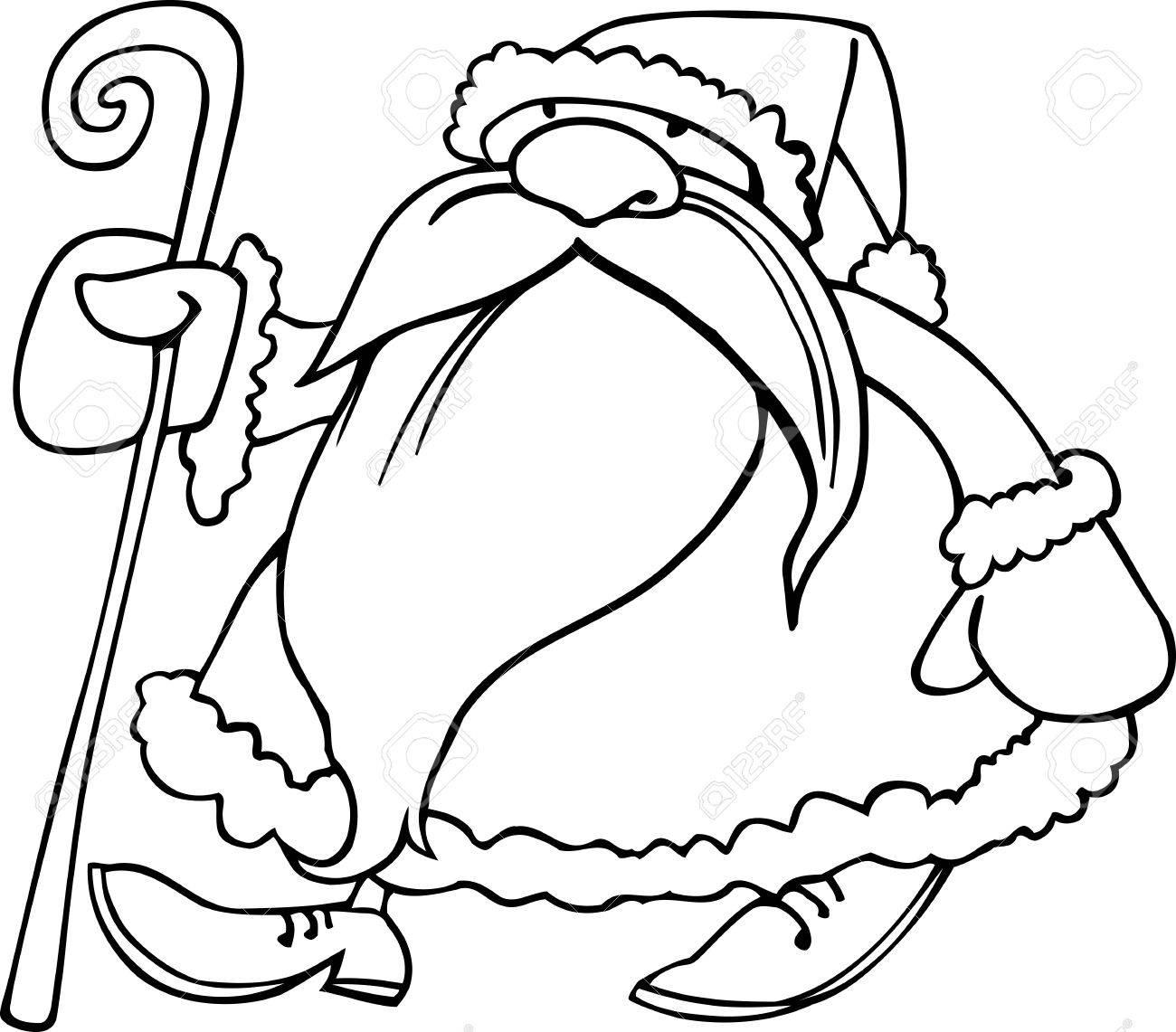 Illustration De Dessin Animé De Santa Claus Ou Le Père Noël Ou Papa Noël Avec La Canne De Cadeaux Pour Coloring Book Ou La Page