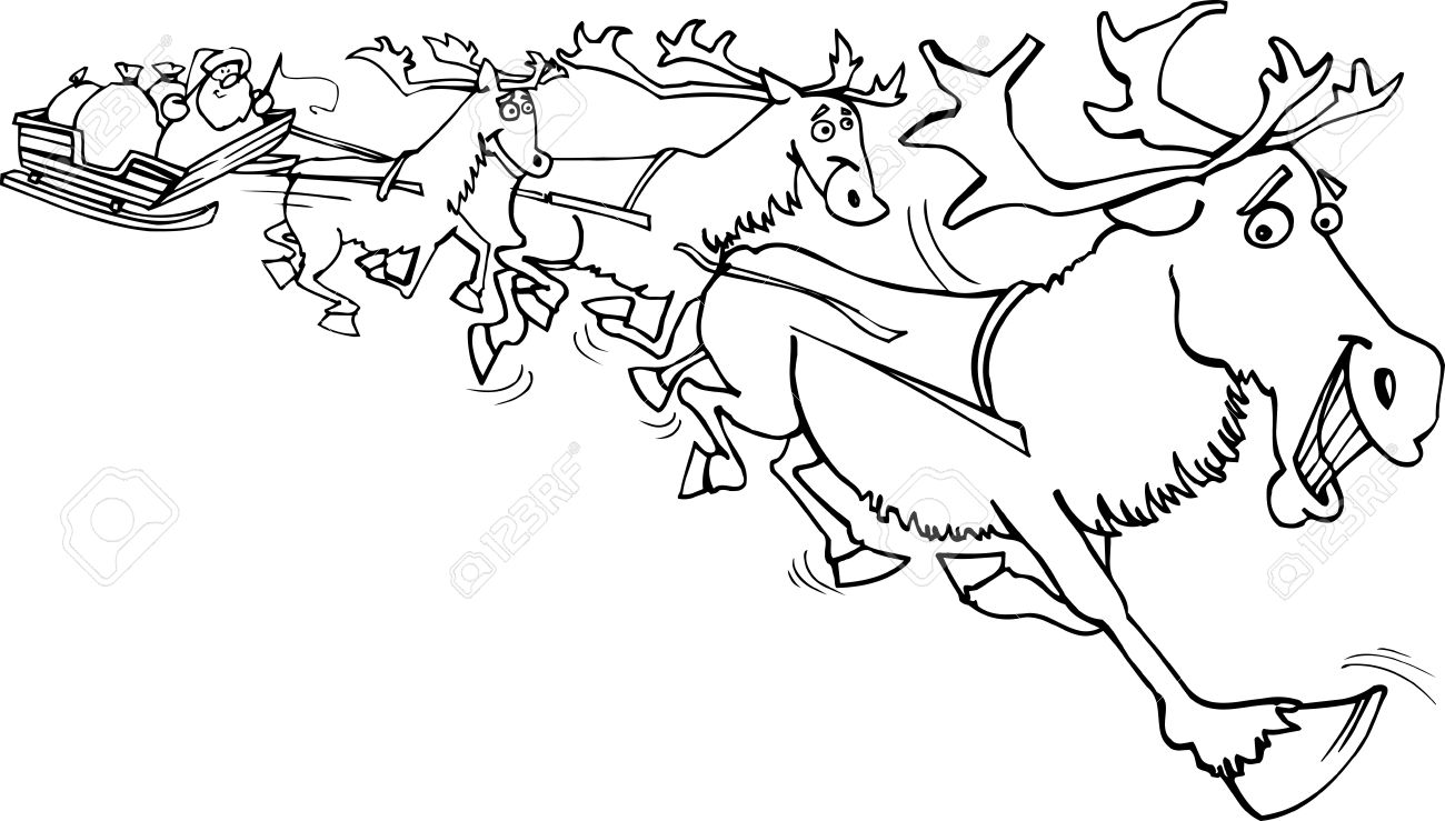 Dibujos Animados Llustration De Papá Noel En El Trineo Con Sacos De ...