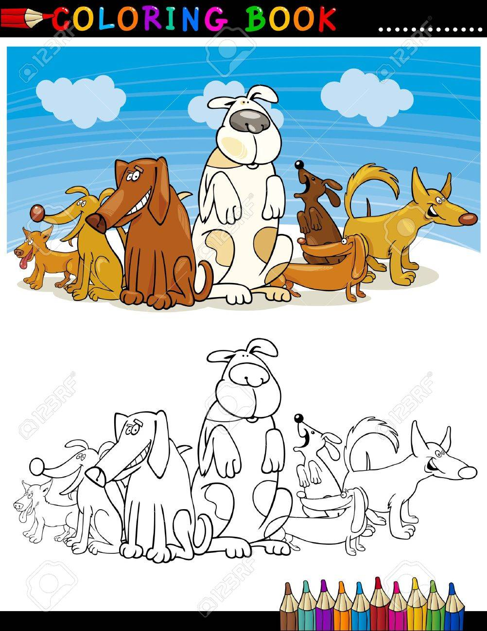 Coloring Book or Page Cartoon Illustration of Funny Dogs Group against Blue Sky for Children Stock Vector - 15406227