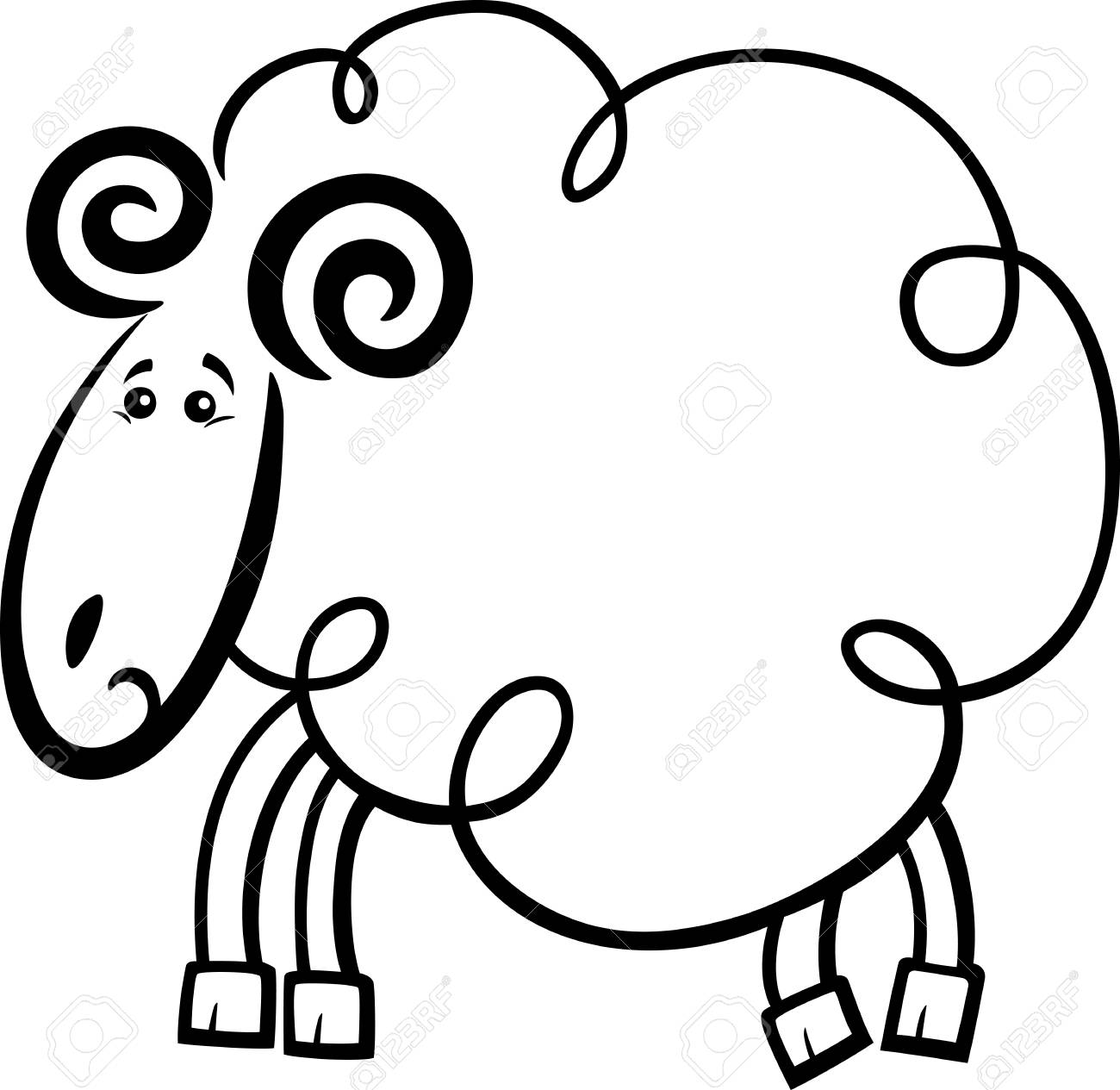 Coloring book pages farm animals - Illustration Of Cute Ram Or Sheep Farm Animal Cartoon Character For Coloring Book Or Page Stock