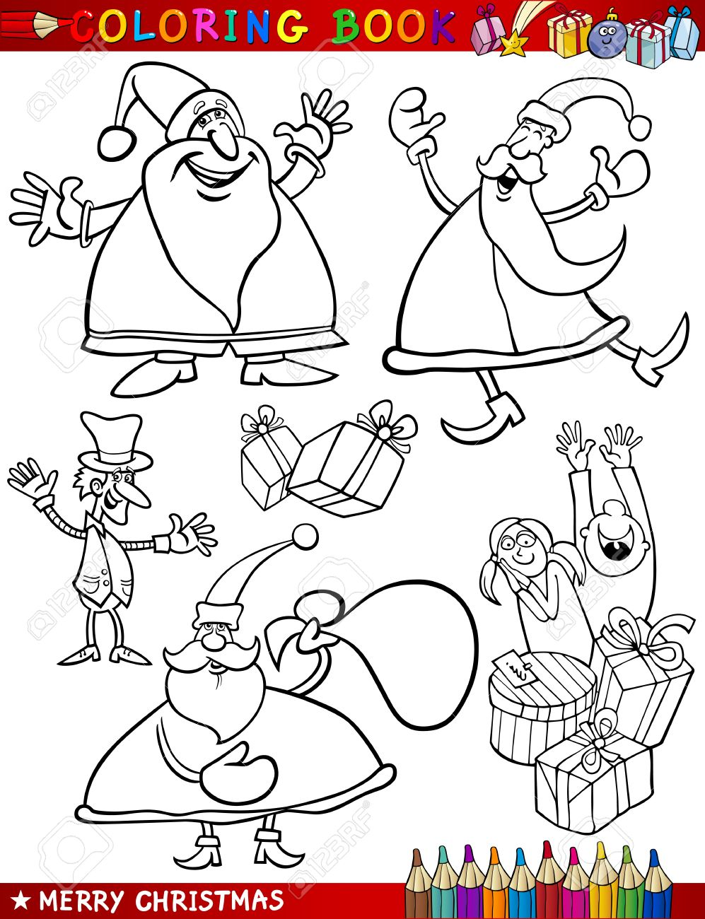 Coloring Book Or Page Cartoon Illustration Of Christmas Themes ...