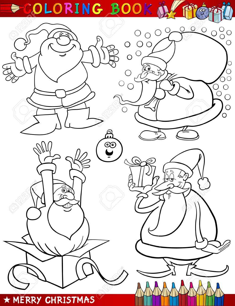 Libro Para Colorear O Ilustración De Dibujos Animados De Navidad ...