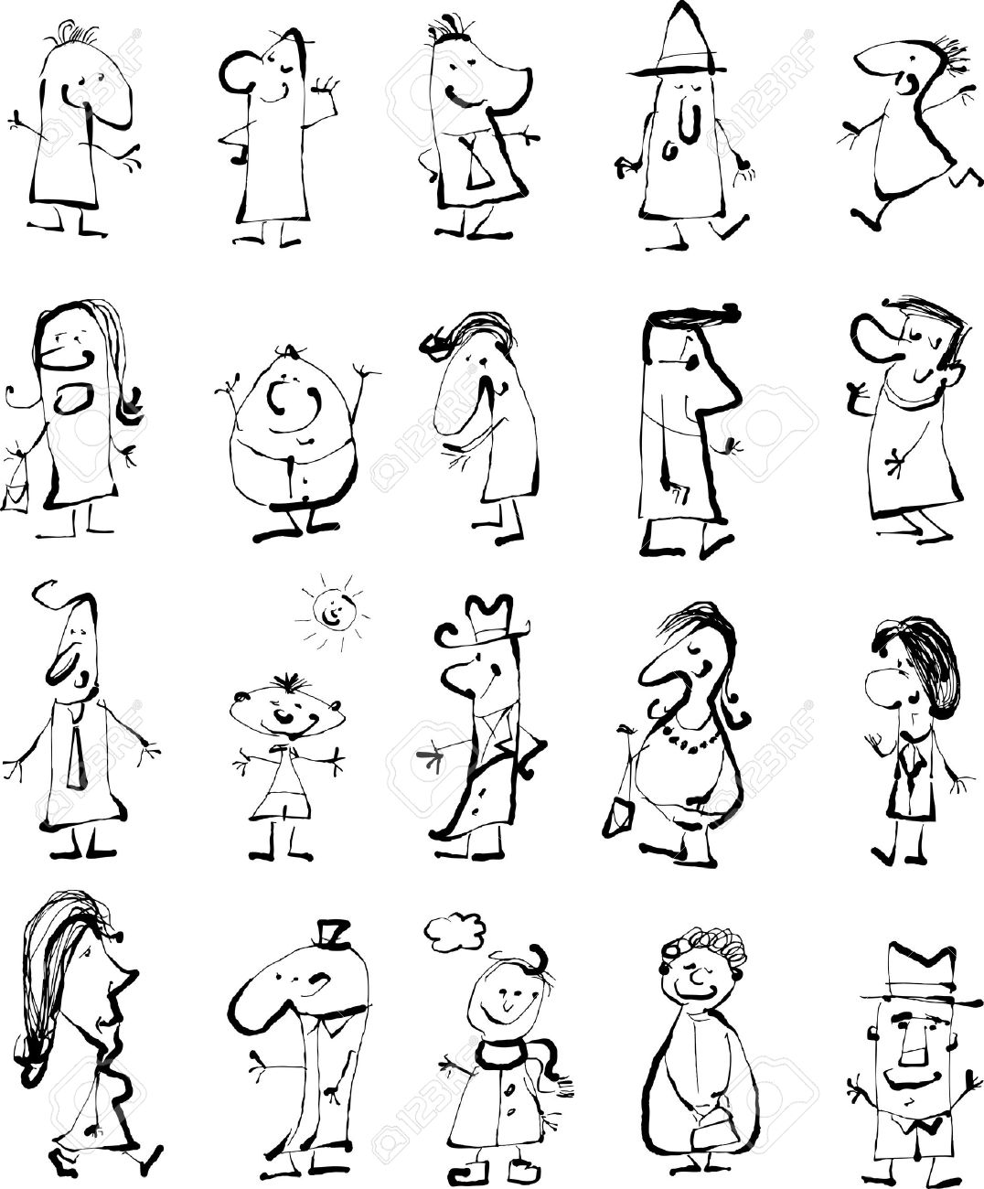 Cartoon Background Illustration of Happy Black and White Doodle People Sketch Set Stock Vector - 15555272