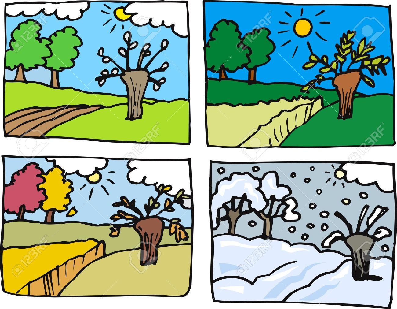 Banque d'images - Illustration de dessin animé du paysage rural dans quatre  Saisons Printemps, Eté, Automne ou automne et l'hiver