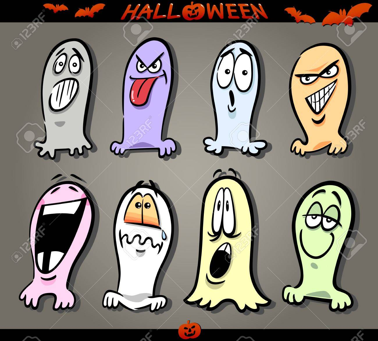 cartoon illustration of halloween themes ghosts emotions funny